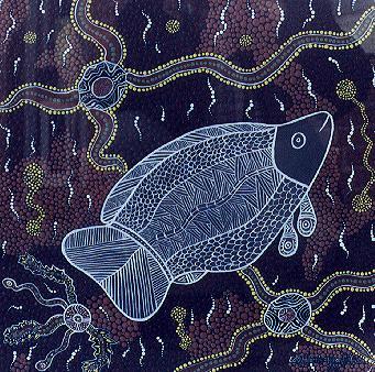 Aboriginal Culture Fish Painting By Aboriginal Artist